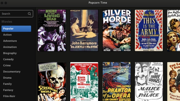 The streaming application Popcorn Time uses bit torrent technology in an extremely user-friendly manner to stream pirated movies.